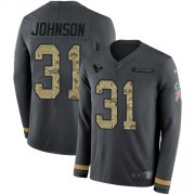 Wholesale Cheap Nike Texans #31 David Johnson Anthracite Salute to Service Youth Stitched NFL Limited Therma Long Sleeve Jersey