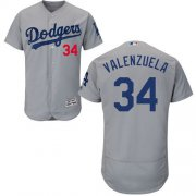 Wholesale Cheap Dodgers #34 Fernando Valenzuela Grey Flexbase Authentic Collection Stitched MLB Jersey