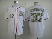 Wholesale Cheap Nationals #37 Stephen Strasburg White USMC Cool Base Stitched MLB Jersey