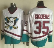 Wholesale Cheap Ducks #35 Jean-Sebastien Giguere White CCM Throwback Stitched NHL Jersey