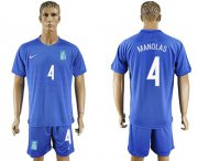 Wholesale Cheap Greece #4 Manolas Away Soccer Country Jersey