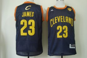 Wholesale Cheap Men\'s Cleveland Cavaliers #23 LeBron James 2017 The NBA Finals Patch Navy Blue With Gold Swingman Jersey