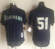Wholesale Cheap Mitchell And Ness 1995 Mariners #51 Randy Johnson Navy Blue Throwback Stitched MLB Jersey