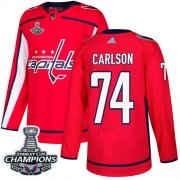 Wholesale Cheap Adidas Capitals #74 John Carlson Red Home Authentic Stanley Cup Final Champions Stitched NHL Jersey