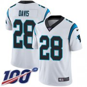Wholesale Cheap Nike Panthers #28 Mike Davis White Men's Stitched NFL 100th Season Vapor Untouchable Limited Jersey
