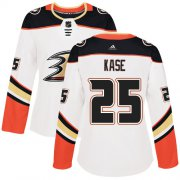 Wholesale Cheap Adidas Ducks #25 Ondrej Kase White Road Authentic Women's Stitched NHL Jersey