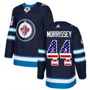 Wholesale Cheap Adidas Jets #44 Josh Morrissey Navy Blue Home Authentic USA Flag Stitched NHL Jersey