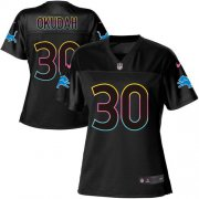 Wholesale Cheap Nike Lions #30 Jeff Okudah Black Women's NFL Fashion Game Jersey