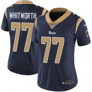 Wholesale Cheap Nike Rams #77 Andrew Whitworth Navy Blue Team Color Women's Stitched NFL Vapor Untouchable Limited Jersey