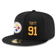 Wholesale Cheap Pittsburgh Steelers #91 Stephon Tuitt Snapback Cap NFL Player Black with Gold Number Stitched Hat