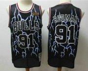 Wholesale Cheap Men's Chicago Bulls #91 Dennis Rodman Black Lightning Hardwood Classics Soul Swingman Throwback Jersey