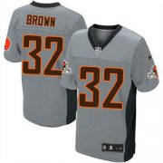 Wholesale Cheap Nike Browns #32 Jim Brown Grey Shadow Men's Stitched NFL Elite Jersey
