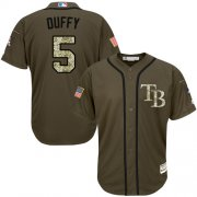 Wholesale Cheap Rays #5 Matt Duffy Green Salute to Service Stitched MLB Jersey