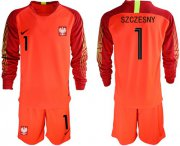Wholesale Cheap Poland #1 Szczesny Red Goalkeeper Long Sleeves Soccer Country Jersey