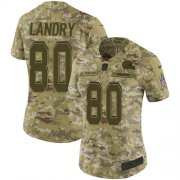 Wholesale Cheap Nike Browns #80 Jarvis Landry Camo Women's Stitched NFL Limited 2018 Salute to Service Jersey
