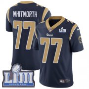 Wholesale Cheap Nike Rams #77 Andrew Whitworth Navy Blue Team Color Super Bowl LIII Bound Men's Stitched NFL Vapor Untouchable Limited Jersey