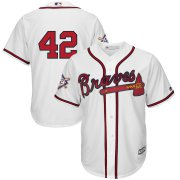 Wholesale Cheap Atlanta Braves #42 Majestic 2019 Jackie Robinson Day Official Cool Base Jersey White