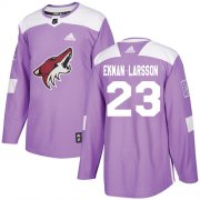 Wholesale Cheap Adidas Coyotes #23 Oliver Ekman-Larsson Purple Authentic Fights Cancer Stitched Youth NHL Jersey