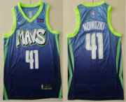 Wholesale Cheap Men's Dallas Mavericks #41 Dirk Nowitzki Blue 2020 Nike City Edition Swingman Jersey With The Sponsor Logo