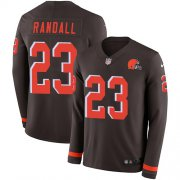 Wholesale Cheap Nike Browns #23 Damarious Randall Brown Team Color Men's Stitched NFL Limited Therma Long Sleeve Jersey