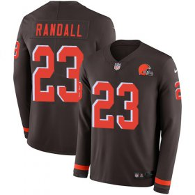 Wholesale Cheap Nike Browns #23 Damarious Randall Brown Team Color Men\'s Stitched NFL Limited Therma Long Sleeve Jersey
