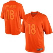 Wholesale Cheap Nike Broncos #18 Peyton Manning Orange Men's Stitched NFL Drenched Limited Jersey