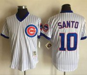 Wholesale Cheap Mitchell And Ness Cubs #10 Ron Santo White(Blue Strip) Throwback Stitched MLB Jersey