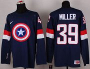 Wholesale Cheap Olympic Team USA #39 Ryan Miller Navy Blue Captain America Fashion Stitched NHL Jersey
