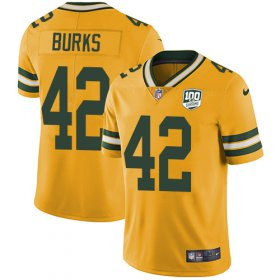 Wholesale Cheap Nike Packers #42 Oren Burks Yellow Men\'s 100th Season Stitched NFL Limited Rush Jersey
