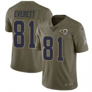 Wholesale Cheap Nike Rams #81 Gerald Everett Olive Youth Stitched NFL Limited 2017 Salute to Service Jersey
