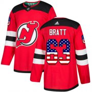 Wholesale Cheap Adidas Devils #63 Jesper Bratt Red Home Authentic USA Flag Stitched Youth NHL Jersey