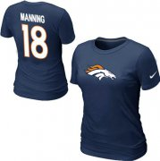 Wholesale Cheap Women's Nike Denver Broncos #18 Peyton Manning Name & Number T-Shirt Blue