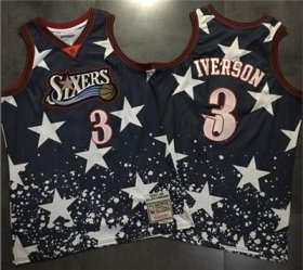 Wholesale Cheap 76ers #3 Allen Iverson Navy Throwback 1997 4th of July Stitched NBA Jersey