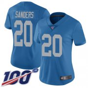 Wholesale Cheap Nike Lions #20 Barry Sanders Blue Throwback Women's Stitched NFL 100th Season Vapor Limited Jersey