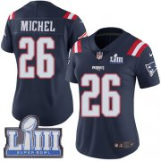 Wholesale Cheap Nike Patriots #26 Sony Michel Navy Blue Super Bowl LIII Bound Women's Stitched NFL Limited Rush Jersey