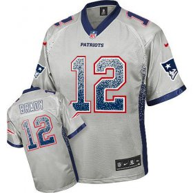 Wholesale Cheap Nike Patriots #12 Tom Brady Grey Men\'s Stitched NFL Elite Drift Fashion Jersey
