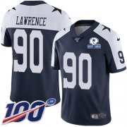 Wholesale Cheap Nike Cowboys #90 DeMarcus Lawrence Navy Blue Thanksgiving Men's Stitched With Established In 1960 Patch NFL 100th Season Vapor Untouchable Limited Throwback Jersey