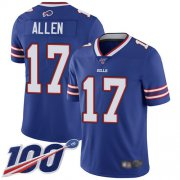 Wholesale Cheap Nike Bills #17 Josh Allen Royal Blue Team Color Youth Stitched NFL 100th Season Vapor Limited Jersey