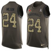 Wholesale Cheap Nike Cardinals #24 Adrian Wilson Green Men's Stitched NFL Limited Salute To Service Tank Top Jersey