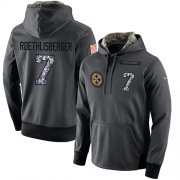 Wholesale Cheap NFL Men's Nike Pittsburgh Steelers #7 Ben Roethlisberger Stitched Black Anthracite Salute to Service Player Performance Hoodie