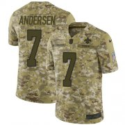 Wholesale Cheap Nike Saints #7 Morten Andersen Camo Men's Stitched NFL Limited 2018 Salute To Service Jersey