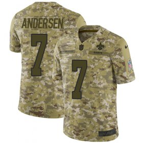 Wholesale Cheap Nike Saints #7 Morten Andersen Camo Men\'s Stitched NFL Limited 2018 Salute To Service Jersey