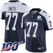 Wholesale Cheap Nike Cowboys #77 Tyron Smith Navy Blue Thanksgiving Men's Stitched With Established In 1960 Patch NFL 100th Season Vapor Untouchable Limited Throwback Jersey