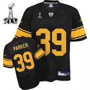 Wholesale Cheap Steelers #39 Willie Parker Black With Yellow Number Super Bowl XLV Stitched NFL Jersey
