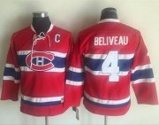 Wholesale Cheap Canadiens #4 Jean Beliveau Red CCM Throwback Stitched Youth NHL Jersey