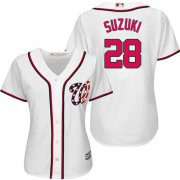 Wholesale Cheap Nationals #28 Kurt Suzuki White Home Women's Stitched MLB Jersey