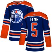 Wholesale Cheap Adidas Oilers #5 Mark Fayne Royal Blue Alternate Authentic Stitched NHL Jersey