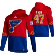 Wholesale Cheap St. Louis Blues #47 Torey Krug Adidas Reverse Retro Pullover Hoodie Red