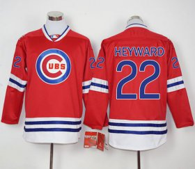 Wholesale Cheap Cubs #22 Jason Heyward Red Long Sleeve Stitched MLB Jersey
