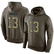 Wholesale Cheap NFL Men's Nike Los Angeles Rams #13 Kurt Warner Stitched Green Olive Salute To Service KO Performance Hoodie